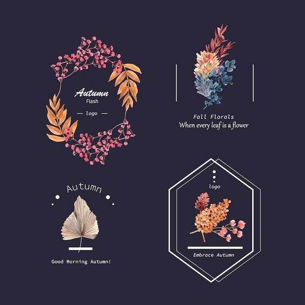 ブランドとマーケティングの水彩イラストの秋の花のコンセプトのロゴデザイン。 無料ベクター
