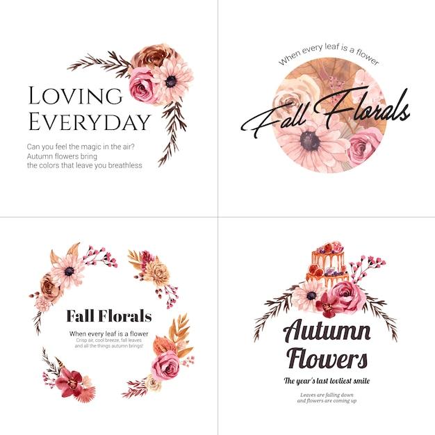 ブランドとマーケティングのための秋の花のコンセプトのロゴデザイン 無料ベクター