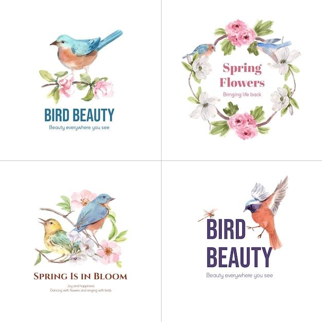 Дизайн логотипа с птицами и весенней концепцией Бесплатные векторы