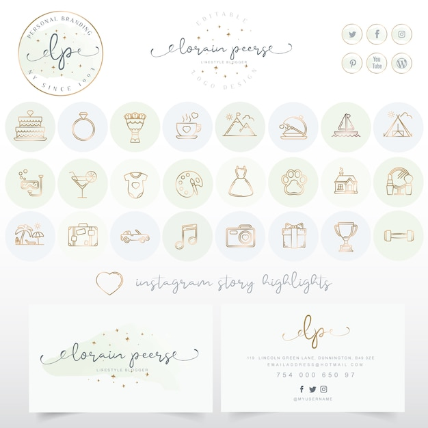 Logo design with business card and icons set Premium Vector