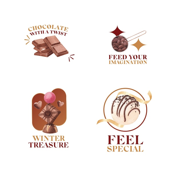 Logo design with chocolate winter concept for branding and marketing watercolor vector illustration Free Vector