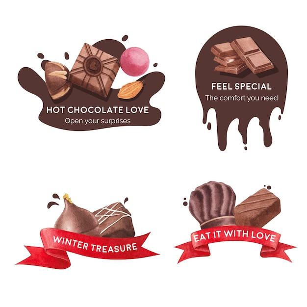 水彩ベクトルイラストのブランディングとマーケティングのためのチョコレート冬のコンセプトのロゴデザイン 無料ベクター