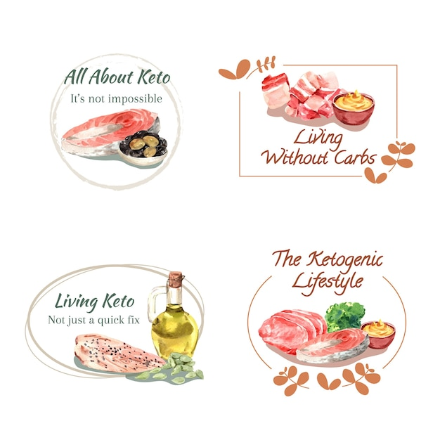 水彩イラストのブランディングとマーケティングのためのケトジェニックダイエットコンセプトのロゴデザイン。 無料ベクター