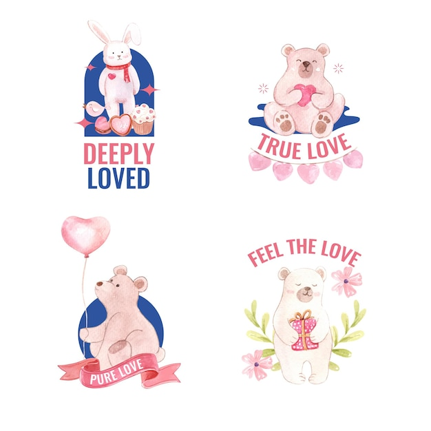 Logo design with loving you concept for branding and business watercolor illustration Free Vector