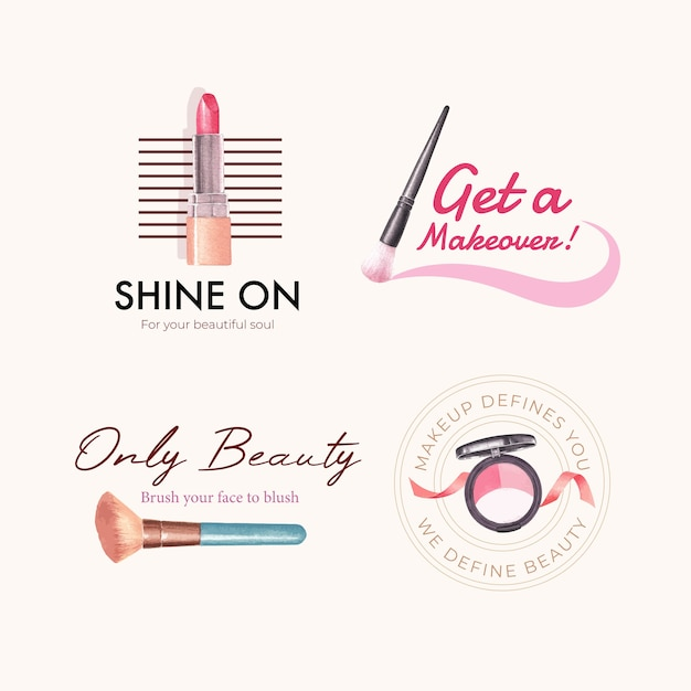 Logo design with makeup concept for branding and marketing watercolor. Free Vector