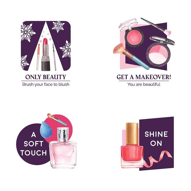 Дизайн логотипа с концепцией макияжа для брендинга и маркетинговой акварели. Бесплатные векторы