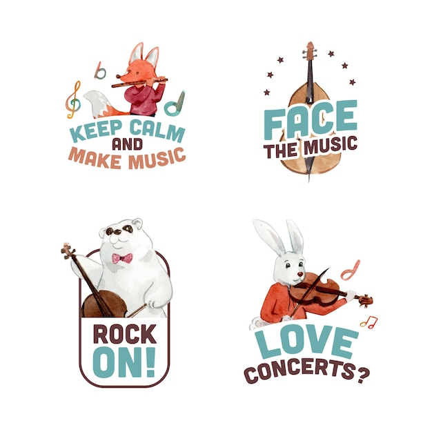 Logo design with music festival concept design for branding and marketing watercolor vector illustration Free Vector