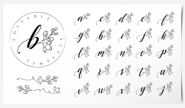 Logo design with orchid flower elements Premium Vector