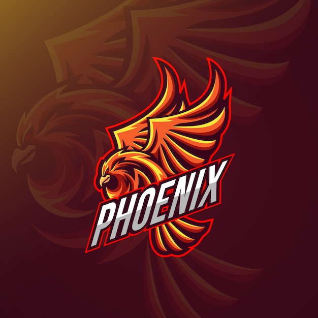 Logo design with pheonix Premium Vector