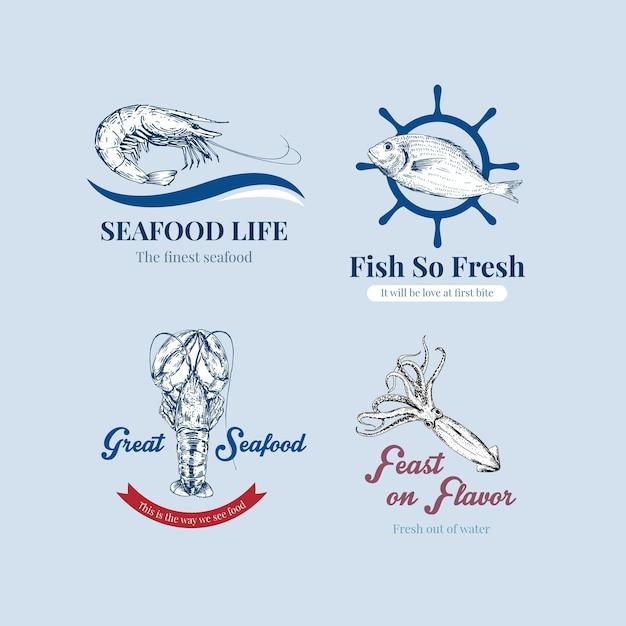 Logo design con il concetto di frutti di mare per il branding e l'illustrazione di marketing Vettore gratuito