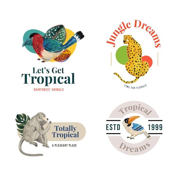Logo design con concetto contemporaneo tropicale per il branding e marketing illustrazione dell'acquerello Vettore gratuito
