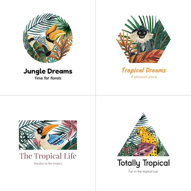 Logo design con concetto contemporaneo tropicale per il branding e marketing illustrazione dell'acquerello Vettore gratuito