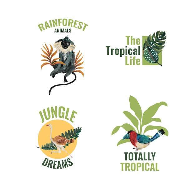 水彩イラストのブランディングとマーケティングのための熱帯の現代的なコンセプトのロゴデザイン 無料ベクター