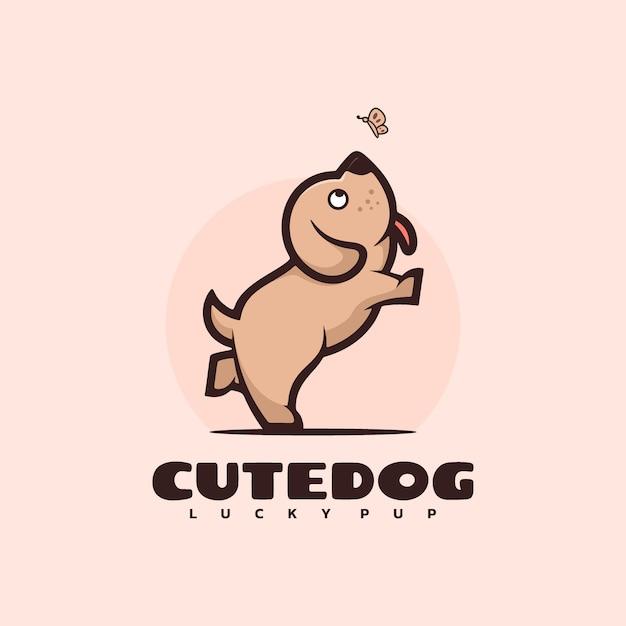 Логотип собака талисман мультяшном стиле. Premium векторы