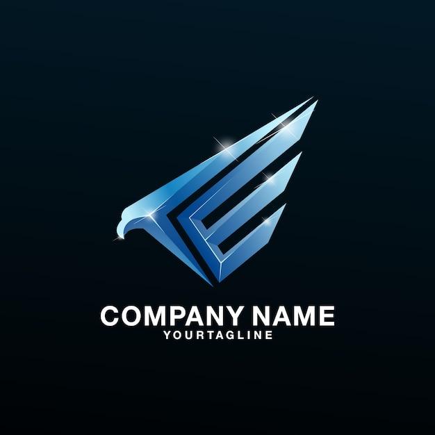Logo eagle latter e awesome Premium Vector