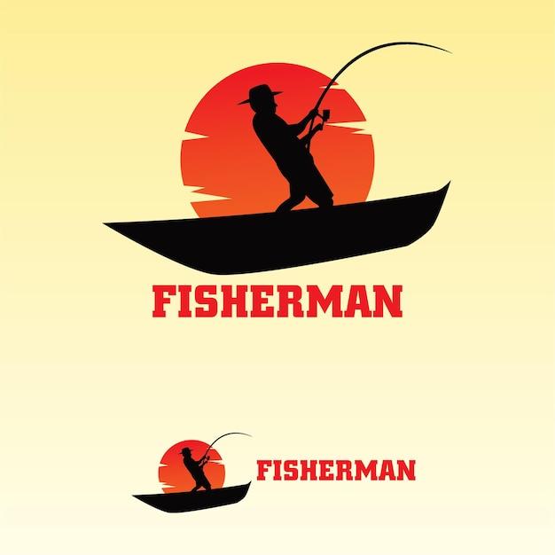 Logo fisherman flat template Premium Vector