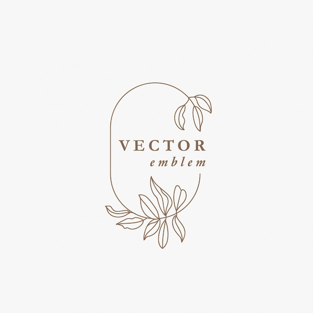 Logo floral  template in trendy linear style. plant and monogram with elegant leaves. emblem for fashion, beauty and jewellery industry. Premium Vector