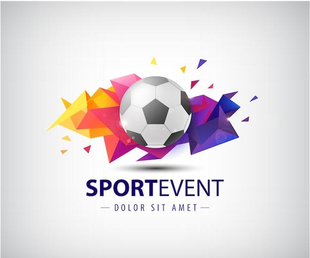 サッカーチームやトーナメント、チャンピオンシップサッカーのロゴ。孤立した。カラフルなファセット折り紙の抽象的な背景にサッカーボール。 Premiumベクター