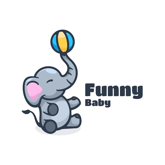 Logo  funny baby simple mascot style. Premium Vector