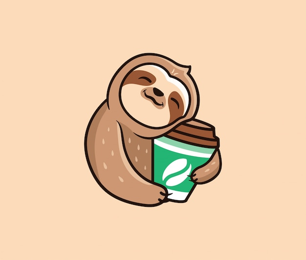 The logo funny sloth with coffee. food logotype, cute animal Premium Vector