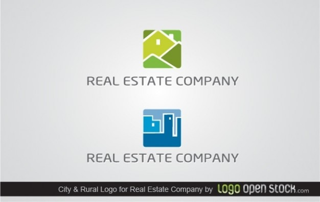 Logo Green and Blue Buildings Real Estate Company