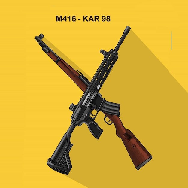 Logo a gun karabiner 98k sniper rifle and m416 assault rifle Premium Vector