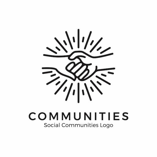 손을 잡고 로고입니다. 모노 라인 스타일의 커뮤니티 로고 프리미엄 벡터