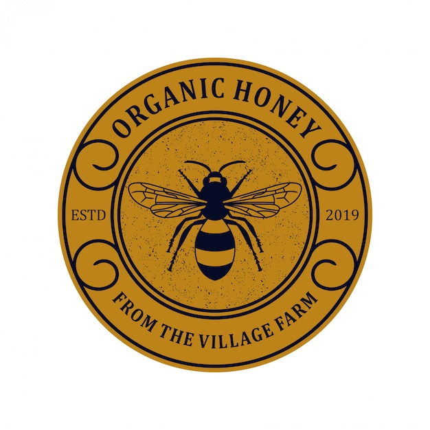 Logo  for honey products or honey bee farms Premium Vector