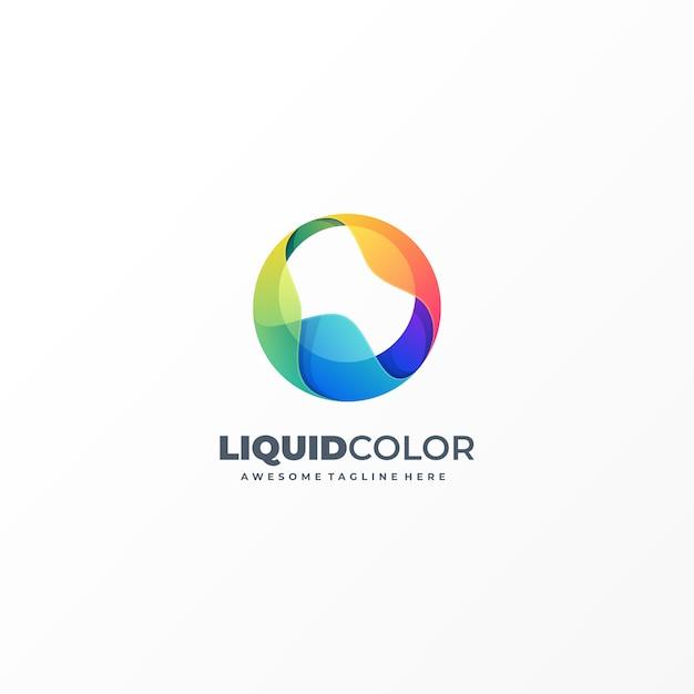 Логотип иллюстрация абстрактные жидкие объекты красочный стиль Premium векторы