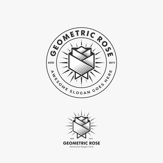 Иллюстрация логотипа абстрактной розы цветка геометрической формы в значке с линией стилем искусства Premium векторы