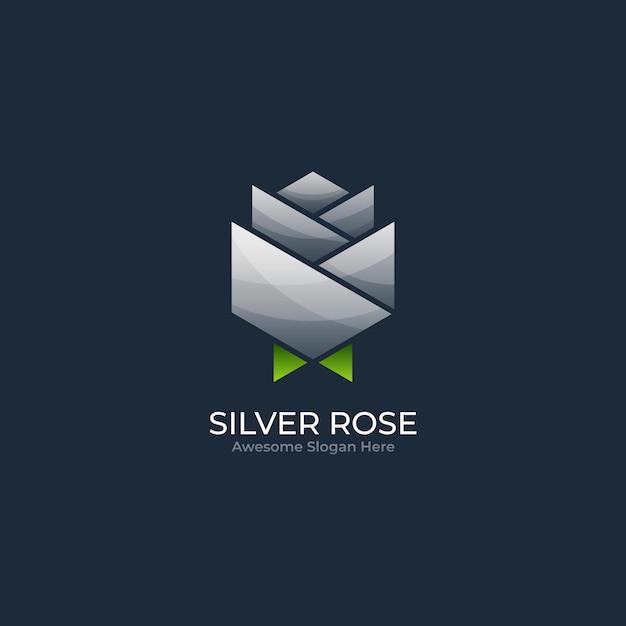 Иллюстрация логотипа абстрактной розы цветка геометрической формы в красочном стиле Premium векторы