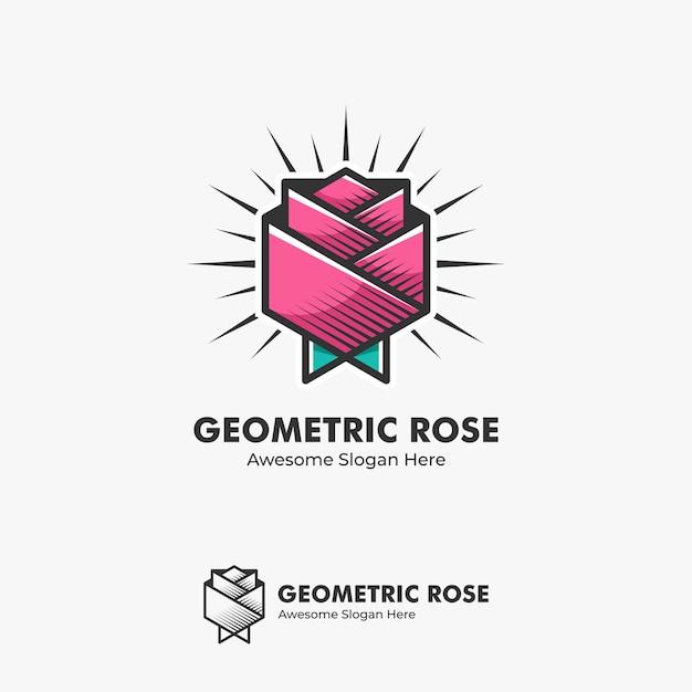 Иллюстрация логотипа абстрактная роза в геометрической форме в стиле раскраски Premium векторы