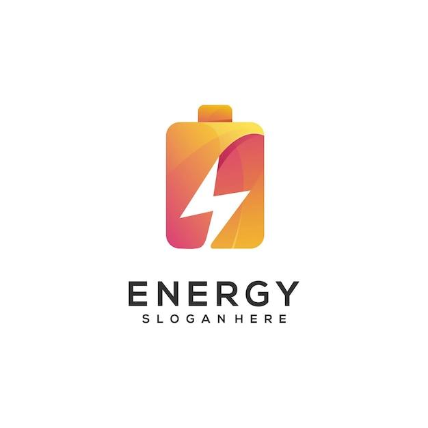 Logo illustration battery gradient Premium Vector