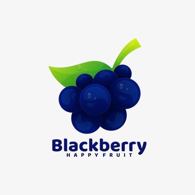 Логотип иллюстрация черная ягода градиент красочный стиль. Premium векторы