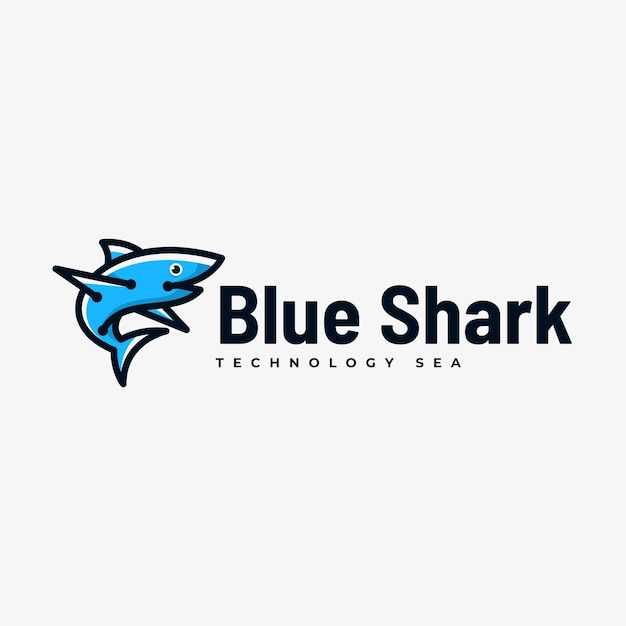 Logo illustration blue shark simple mascot style. Premium Vector