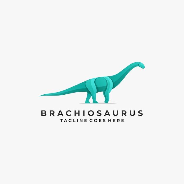 Logo illustration brontosaurus pose gradient colorful Premium Vector