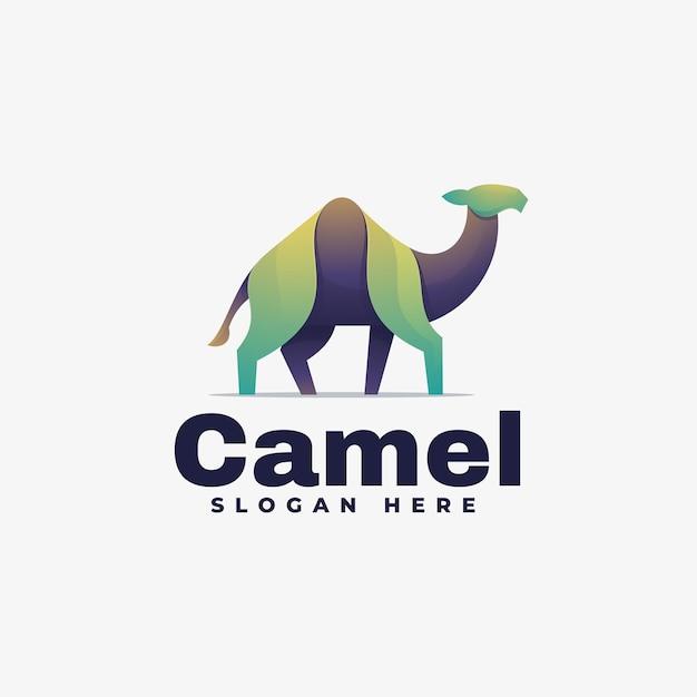 Логотип иллюстрация верблюда градиент красочный стиль. Premium векторы