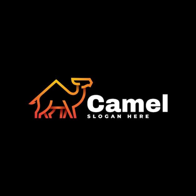 Логотип иллюстрация верблюд градиентной линии в стиле арт. Premium векторы
