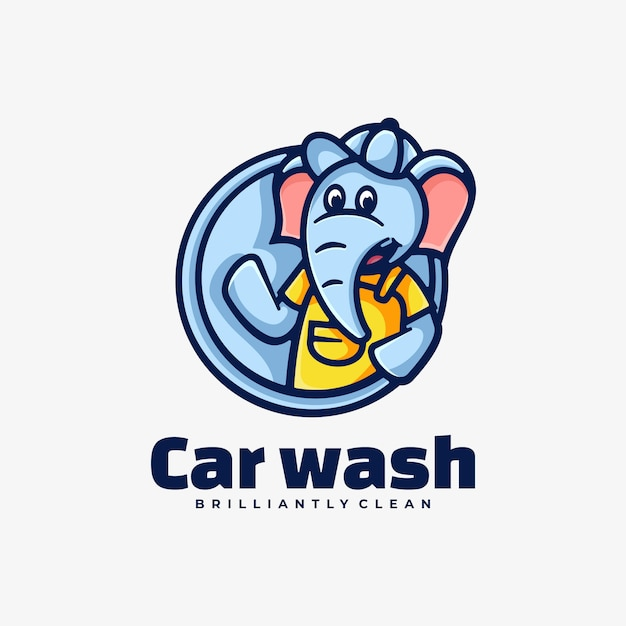 Logo illustration car wash simple mascot style. Premium Vector