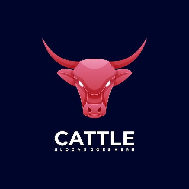 Logo illustration cattle head gradient colorful style. Premium Vector