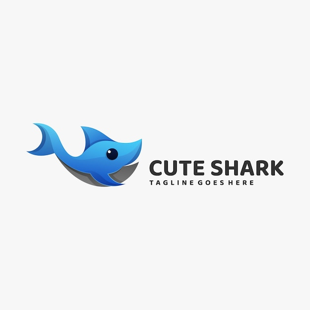 Logo illustration cute shark gradient colorful style. Premium Vector