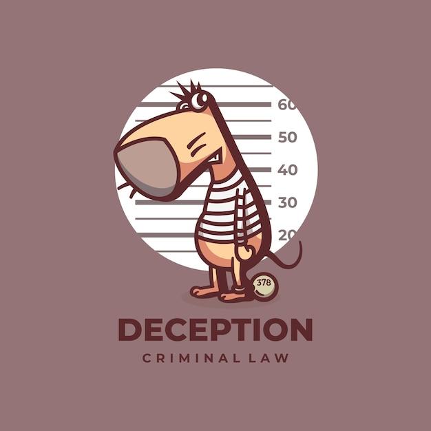 Логотип иллюстрация обман мыши простой стиль талисмана. Premium векторы