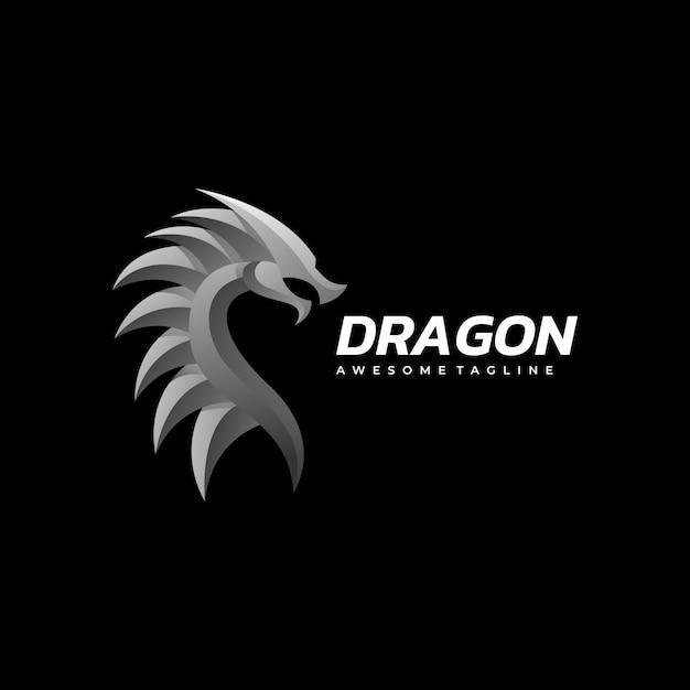 ロゴイラストドラゴングラデーションカラフルなスタイル。 Premiumベクター