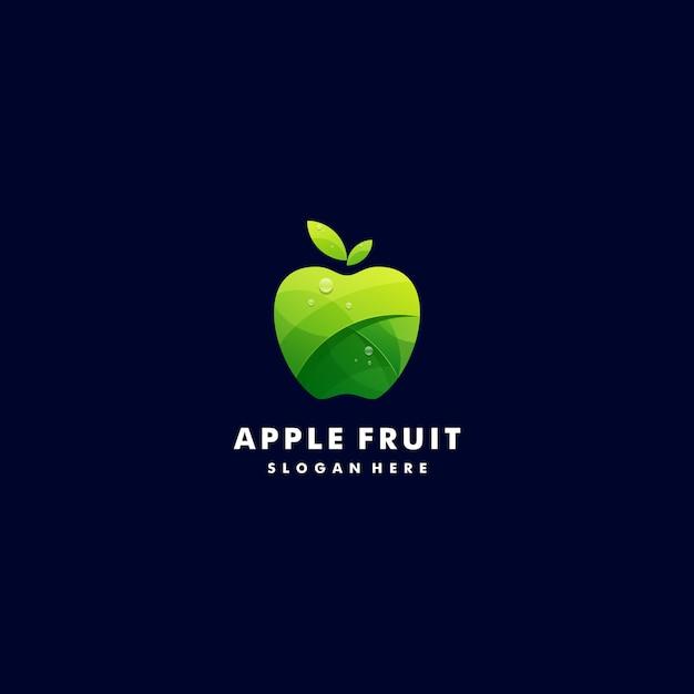Logo illustration fresh apple gradient colorful style. Premium Vector