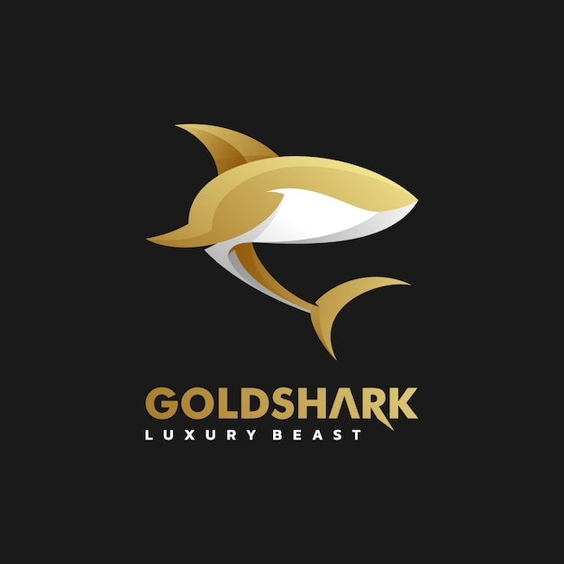 Logo illustration golden shark gradient colorful style. Premium Vector