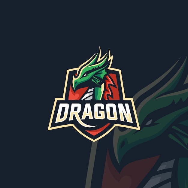 ロゴイラスト神話ドラゴンビーストスポーツとeスポーツエンブレムバッジスタイル Premiumベクター