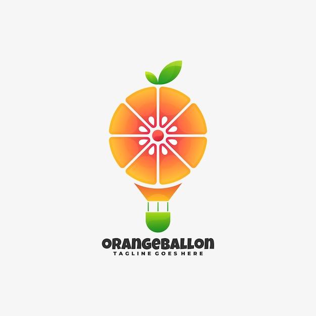 ロゴイラストオレンジバルーングラデーションカラフルなスタイル。 Premiumベクター
