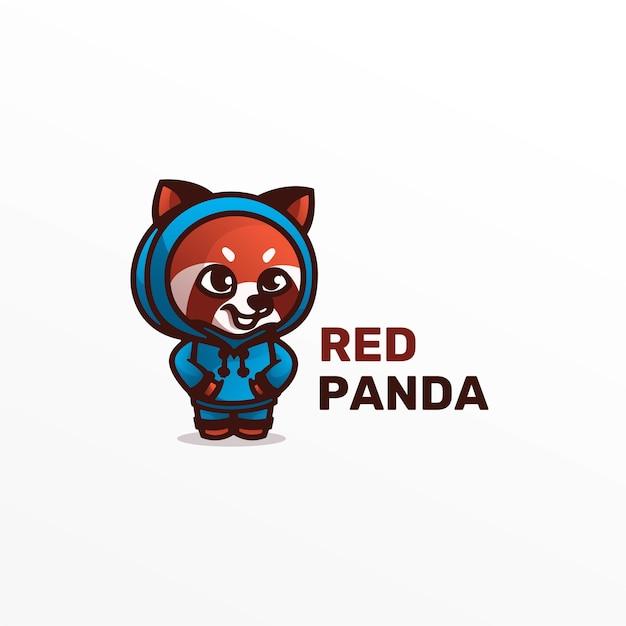 Иллюстрация логотипа красная панда талисман мультяшном стиле. Premium векторы