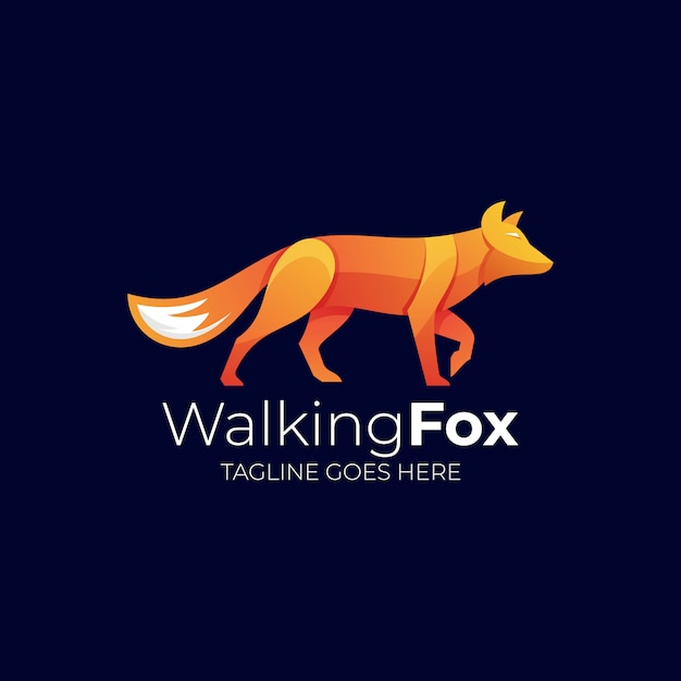 Логотип иллюстрация walking fox gradient colorful Premium векторы