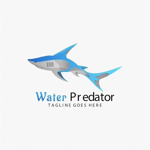 Logo illustration water predator gradient colorful style. Premium Vector